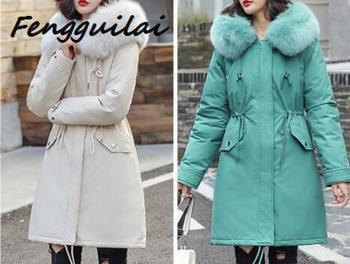 FENGGUILAI Hood Padded Parka Winter Jacket Women Coat Fur Warm Pocket Zipper Winter Overcoat Snow Wear Thick Jacket Coat Female цена 2017