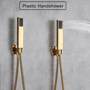 Image 4 - Kit de torneira para banheiro, kit de chuveiro dourado de 8/20/22 polegadas, chuveiro quadrado, torneira, montagem na parede, torneira do banheiro, oculto, misturador torneira banheira