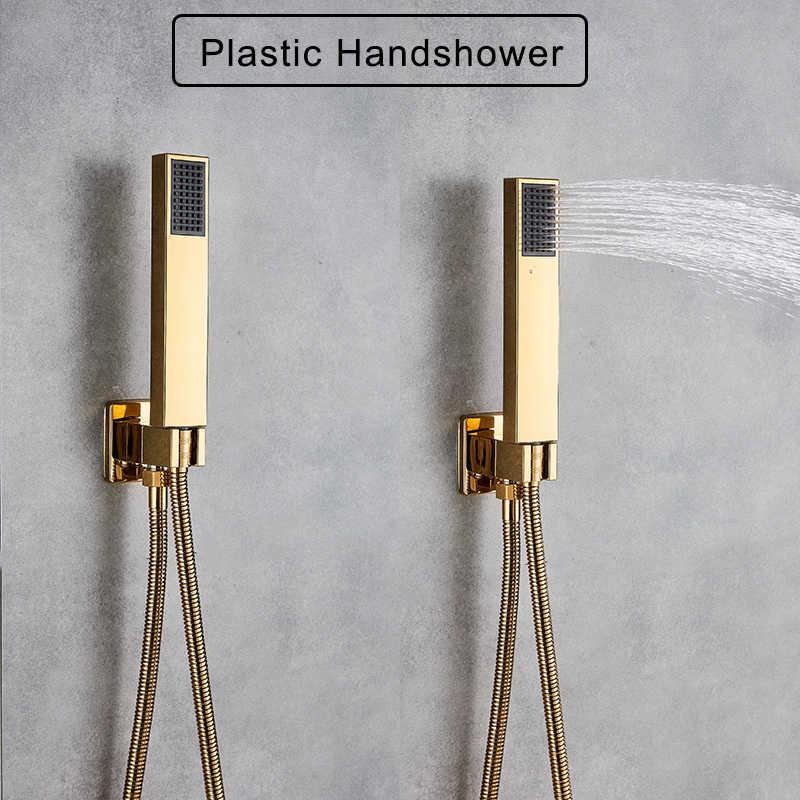 """Rozin altın duş seti 8/10/12 """"kare yağış duş musluk duvara monte banyo musluk gizli duş bataryası seti küvet musluk"""