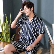 Повседневные Сатин 2шт пижамы костюм пижамы летом пижамы мужчин пижамы с коротким рукавом футболка и шорты комплект ночной рубашке домашней одежды