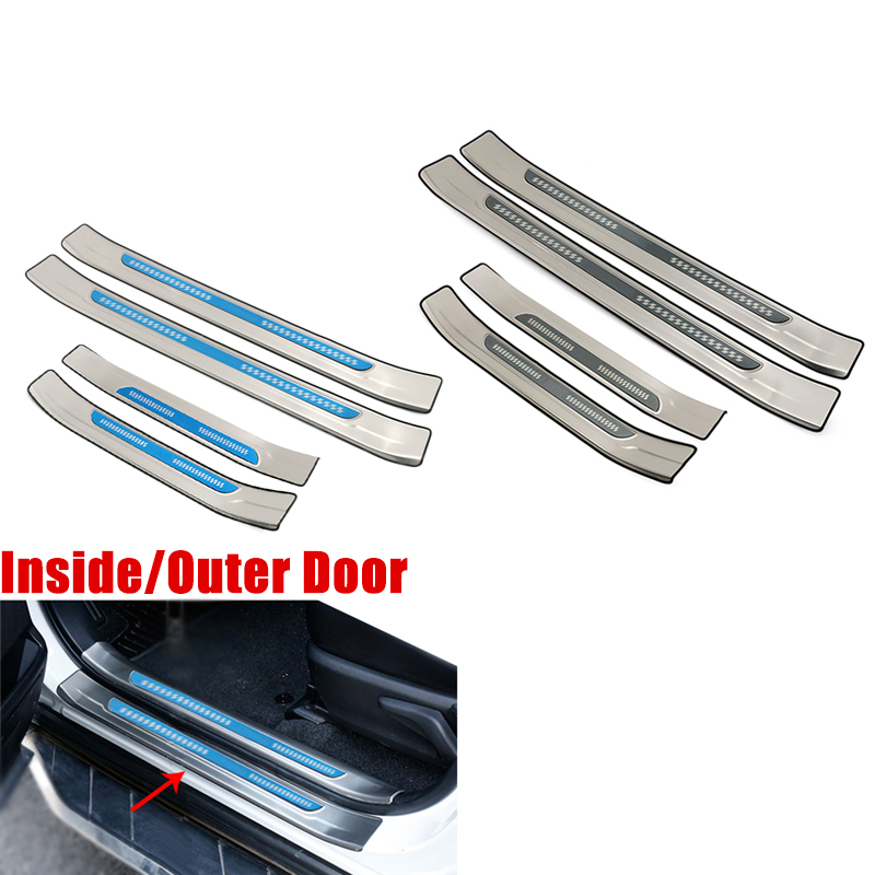 For Toyota RAV4 <font><b>RAV</b></font> <font><b>4</b></font> 2013 - <font><b>2018</b></font> Stainless Steel Inside Outside Door Sill Protector Pedal Scuff Plate Cover Trims Accessories image