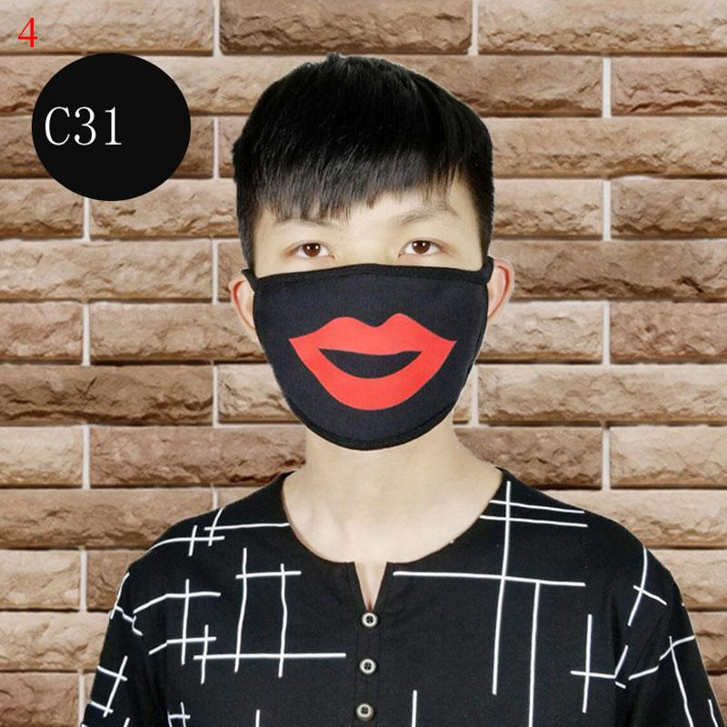 1PC Black Dustproof Mouth Face Mask Anime Cartoon Print Mouth Masks Women Men Face Mouth Masks Reusable Cotton Mouth Mask
