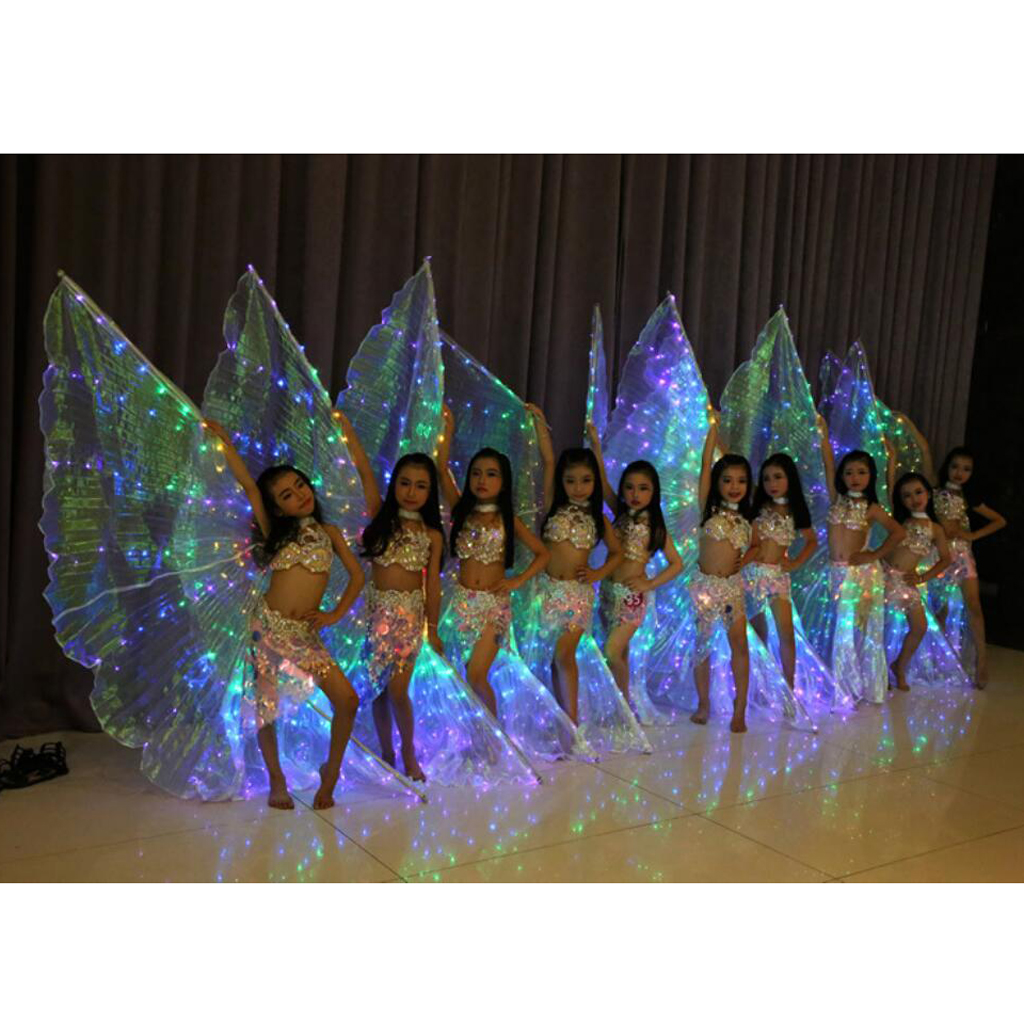 5pcs Dance Fairy Dance Belly Wings Isis LED With Sticks / Stems For Performance On Stage 100-220cm