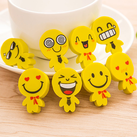 P228 New Style Creative Stationery Cartoon Yellow Villain Modeling With Smiley Expression Rubber Eraser Young STUDENT'S Learning