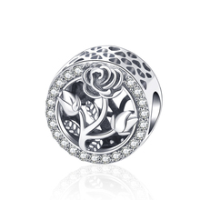 Strollgirl 100%925 Sterling Silver Retro Rose Flower Beads Round Glamour Fit Pandora Bracelet fashion accessories Christmas Gift