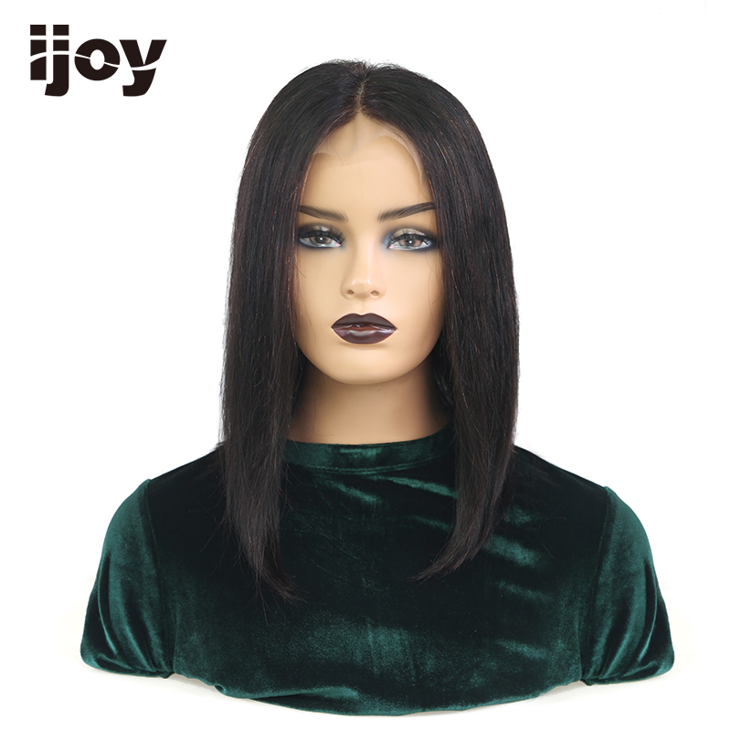 【IJOY】Bob Lace Front Wigs 4x13 Lace Front 18''-28'' Straight Lace Front Brazilian Wig Natural Hair 150% Density Remy Pre-Plucked