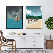 Daylight Saving Memorial Wall Art Poster Girl On The Beach Abstract Canvas Painting Sailboat Print Pictures For Bedroom Decor
