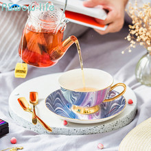 Modern Style Ceramic Coffee Cup And Saucer Set European British Afternoon Drinking Tea Gift Box Bone China Saucers Teacups