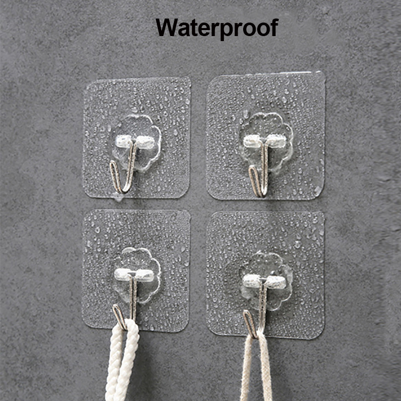 ZhangJi strong hook traceless self-adhesive storage Hooks Towel Rack Clothes Hat Holder bathroom Kitchen Storage accessories
