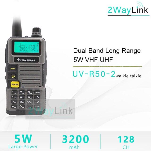 QuanSheng ווקי טוקי UV R50 2 UHF VHF 5W שני רדיו דרך 3200mAh נייד Quansheng UV R50 2 רדיו חם TG UVR50