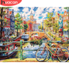 HUACAN Coloring By Number City Drawing On Canvas HandPainted Painting Art Gift DIY Pictures By Number Bicycle Kits Home Decor