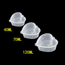 100pcs High quality transparent love shape disposable pudding cup 40ml 70ml 120ml jelly sauce fruit plastic cup with lid(China)