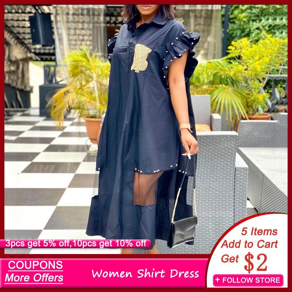 See-Through Patchwork Women Shirt Dress Letter Print 2020 Summer Autumn Midi Robe Femme African Bead Ruffles Office Maxi Vestido
