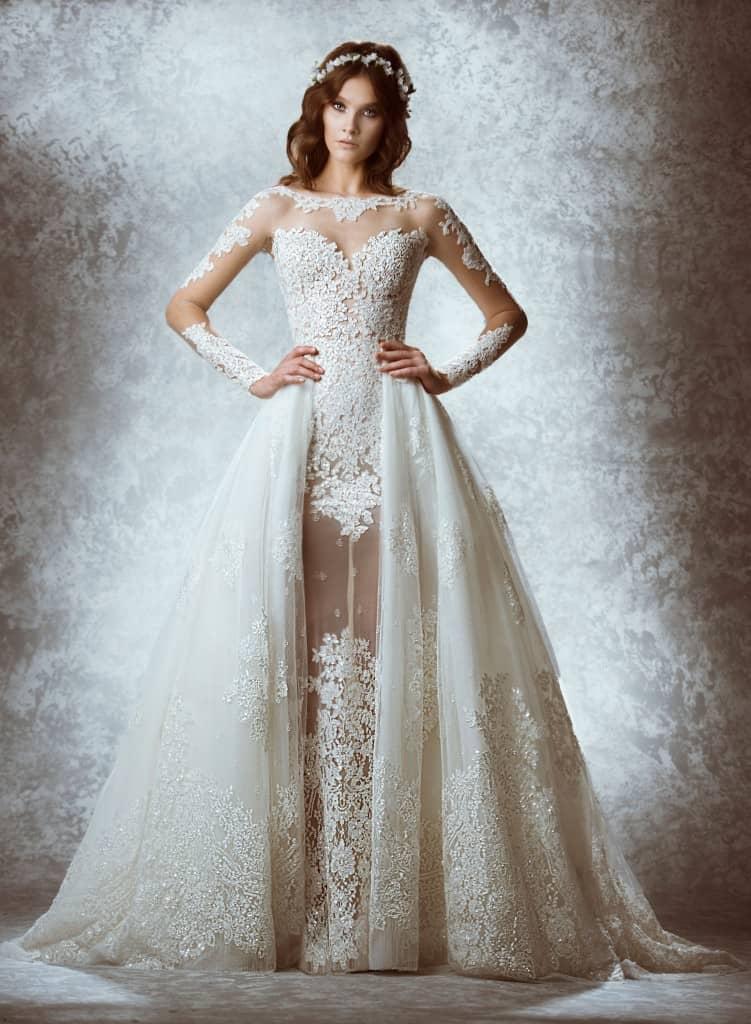 Arabia Muslim 2018 Fashion Bridal Gown Detachable Train Lace Sheer Long Sleeves Vestido De Novia Mother Of The Bride Dresses