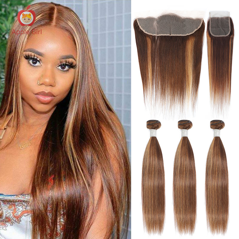 Highlight 3 Bundles With Closure    Bundles With Frontal Colored Applegirl Straight  Hair 4PCS/LOT 1