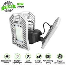 LED Warehouse Light 80W 8000Lumen E26 Deformable Workshop Lamp Factory Lighting Professional Industrial Dropshipping