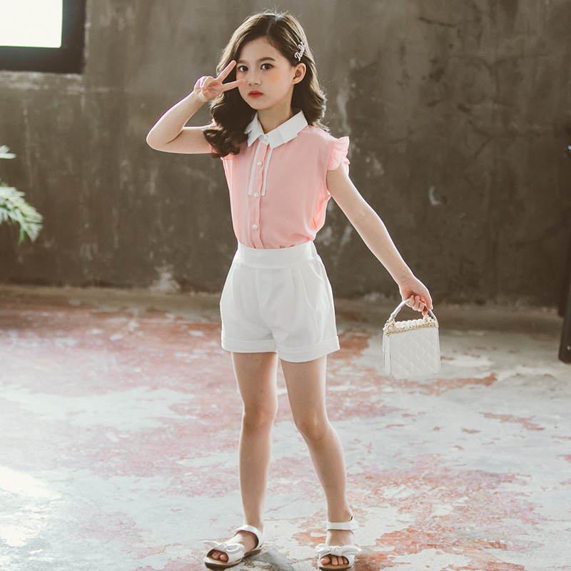 Teen Girl Clothing Sets Summer 2020 Two Pieces Sleeveless Children Set Fashion Big Girls Clothes Suit Casual Yellow Pink Outfits