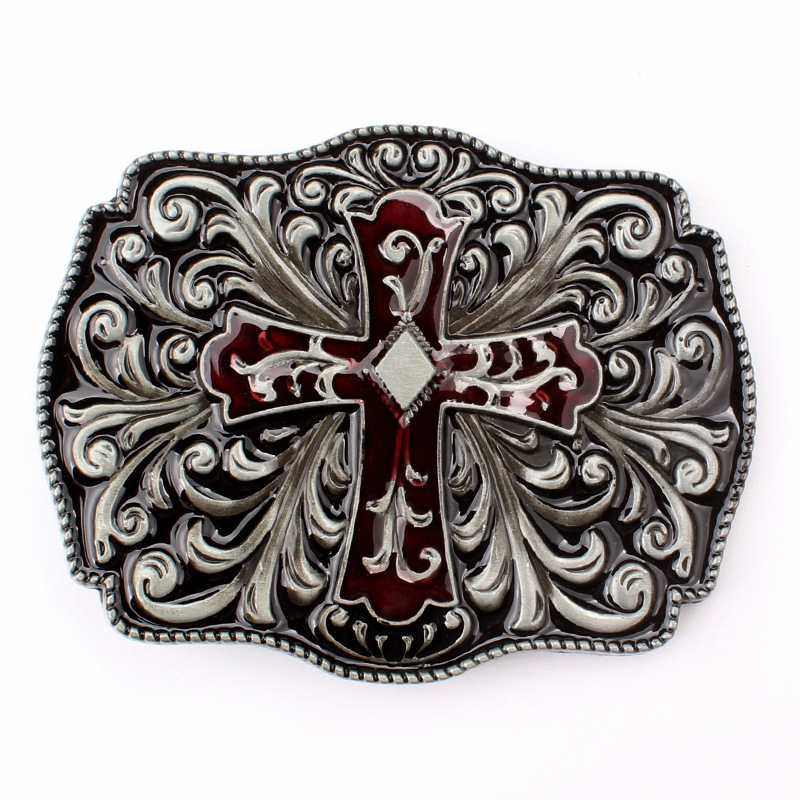 Cross Pattern Belt Buckle Homemade Handmade Waistband Components