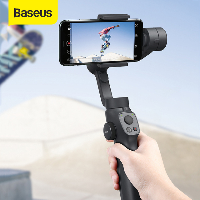 Baseus 3軸ハンドヘルドジンbluetooth selfieスティックカメラビデオスタビライザーiphoneアクションカメラ