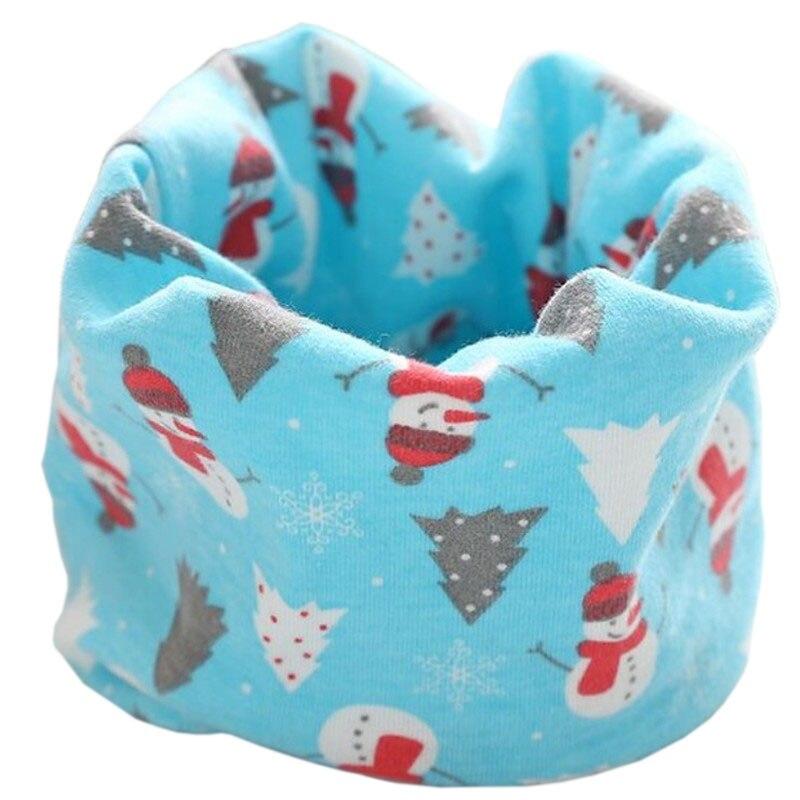 Новинка; Модный хлопковый шарф для маленьких девочек; осенне-зимний шарф для маленьких мальчиков; Детский шарф с круглым вырезом; Детские шарфы; волшебный шейный платок - Цвет: blue snowman