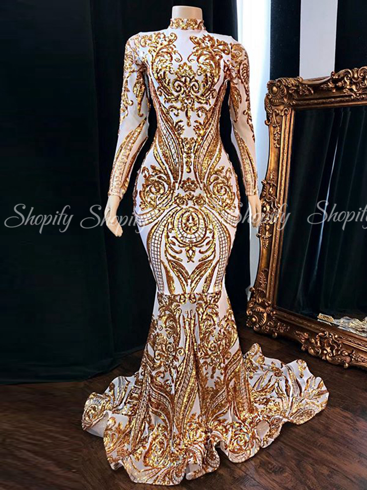 Long Prom Dresses 2020 Sparkly Long Sleeve High Neck Gold Sequined White Satin Lace African Women Prom Party Dress