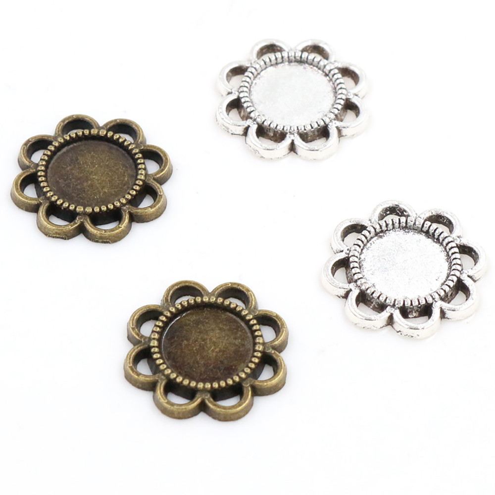 30pcs 8mm Inner Size Antique Bronze And Silver Plated Flower Style Cabochon Base Cameo Setting Charms Pendant