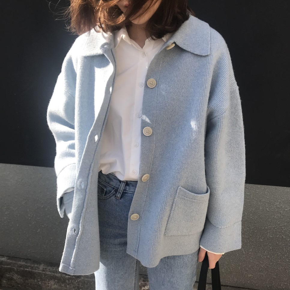 Button Cropped Cashmere Cardigan Lazy Oaf Knitted Cute Sweater Korean Style Women Yellow Loose Blue Jersey Mujer Casual Autumn
