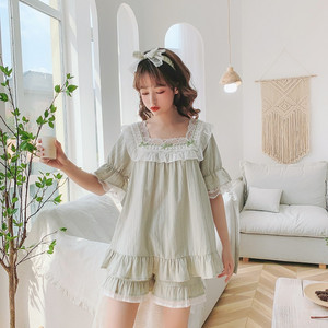 Милые женские хлопковые Пижамные комплекты с коротким рукавом, летние шорты, пижамы в полоску, Однотонная ночная одежда, подарок, повязка на...
