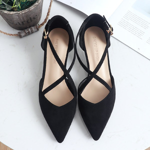 Image 2 - 5cm High Heels Shoes Woman Cross Tied Flock Pointed Toe Thin Heels Pumps Shoes Female Nude Elegant Sandals Party Wedding Shoes