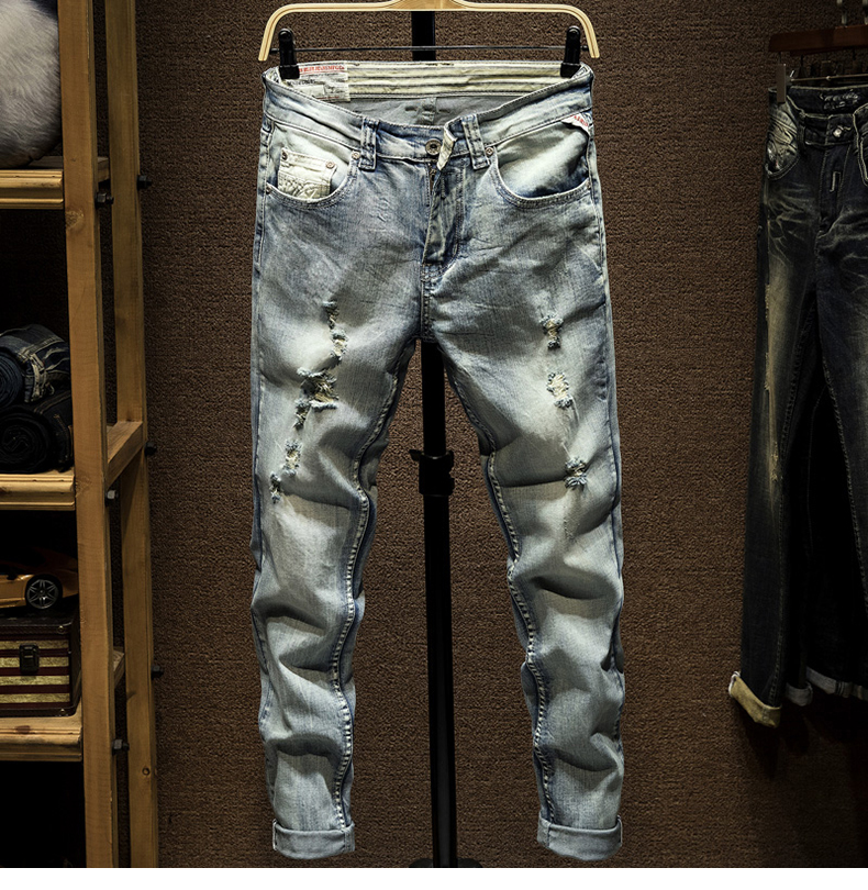 Ripped Jeans Men Light Blue Stretch Slim Fit Spring and Autumn Denim Pants Distressed Streetwear