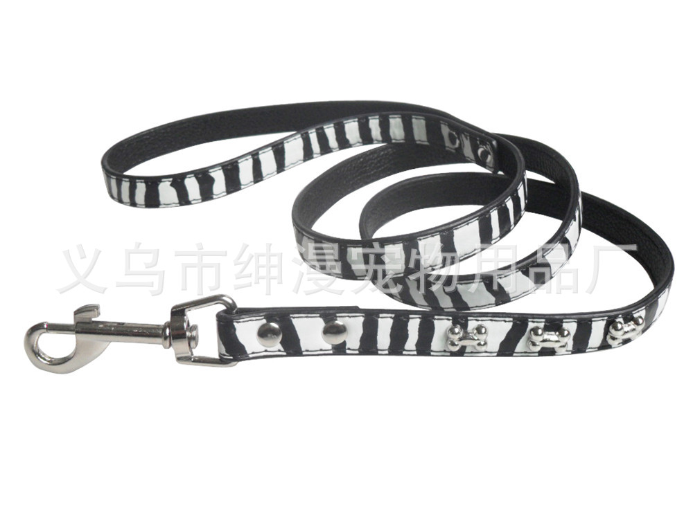 Gentry Diffuse Pet New Style Bone Zebra-stripe Pu Pet Traction Rope Dog Supplies Dog Chain