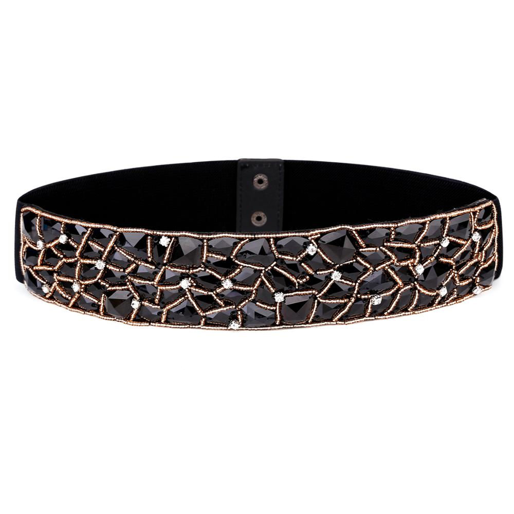 Catelles Hot New Fashion Design Woven Elastic Artificial Black Crystal Wide Belt Lady Cummerbunds Female Belts Girdle