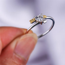 Cute Female Small Arrow Heart Ring Silver Gold Bridal Engagement Ring Vintage Small Zircon Wedding Rings For Women(China)