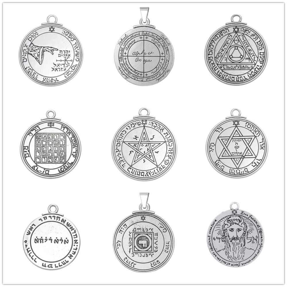 Teamer dwustronne Nordic Viking Charms do tworzenia biżuterii Vintage Solomon pentagram Seal wisiorek dla naszyjnik mężczyzn Amulet Wicca