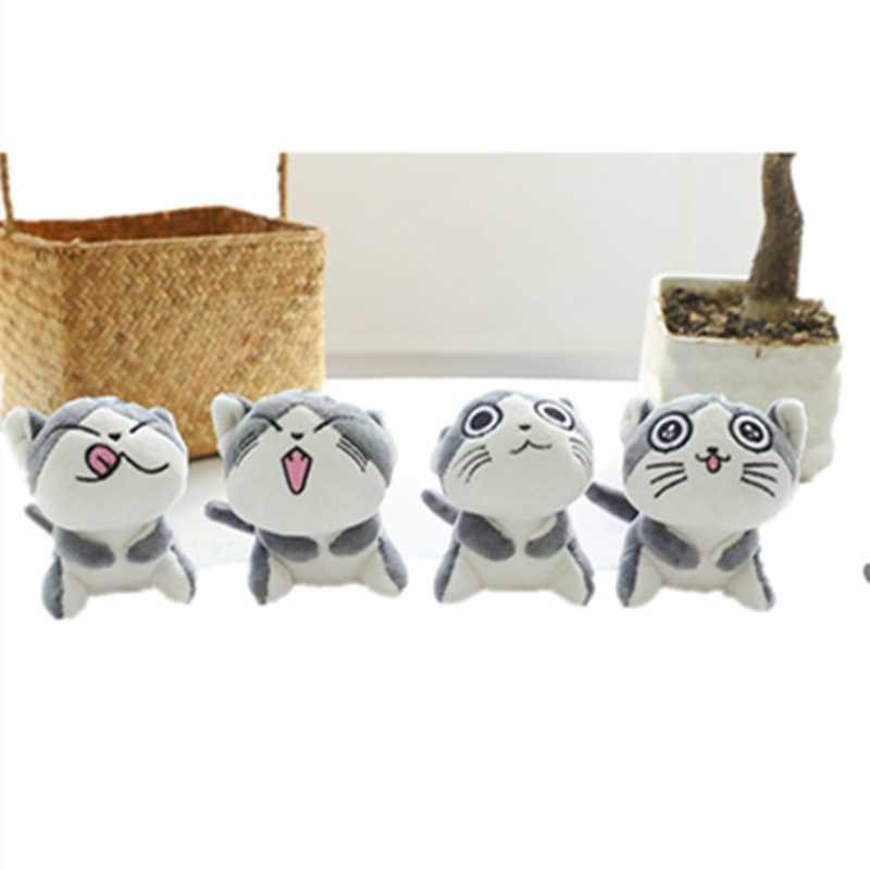 Bonito Gato De Pelúcia Recheado Bonecas Brinquedos Dos Desenhos Animados Anime Gatos Doces Animais De Pelúcia Keychain do Anel Chave Da Cadeia de Brinquedos de Pelúcia Para As Crianças 9CM