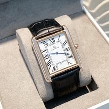 뜨거운 판매 relogio masculino 럭셔리 여성/남자 시계 패션 여성 reloj hombre 드레스 시계 캐주얼 Rectangule 가죽 애호가 시계
