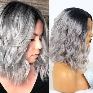 Fanxiton ombre cinza perucas dianteiras do laço para as mulheres sintéticas curto ondulado perucas resistente ao calor fibra natural olhando