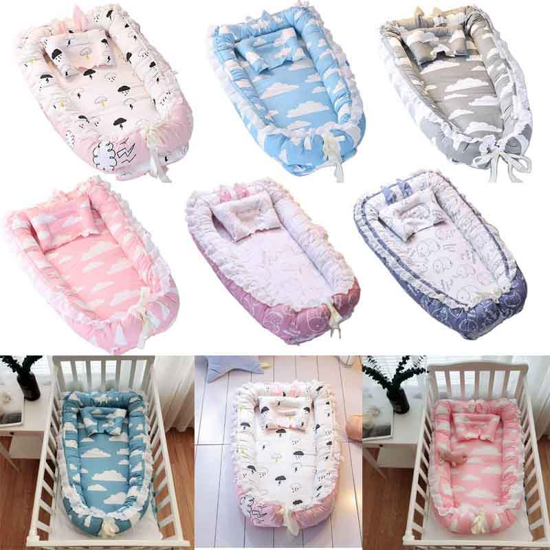 Portable Newborn Baby Bed Infant Travel Sleep Nest Soft Comfortable Breathable Cotton Lounger Bed