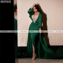 Prom-Gowns Occasion-Dresses Beads Evening-Dress Satin Arabic Long-Sleeves Green Plus-Size