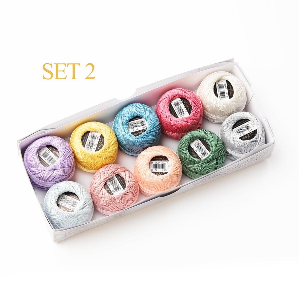 10 цветов в наборе, 5 грамм, размер 8, жемчужная хлопковая вышивка, нить для рукоделия, двойная мерсеризованная египетская длинная Штапельная ткань - Цвет: Set 2