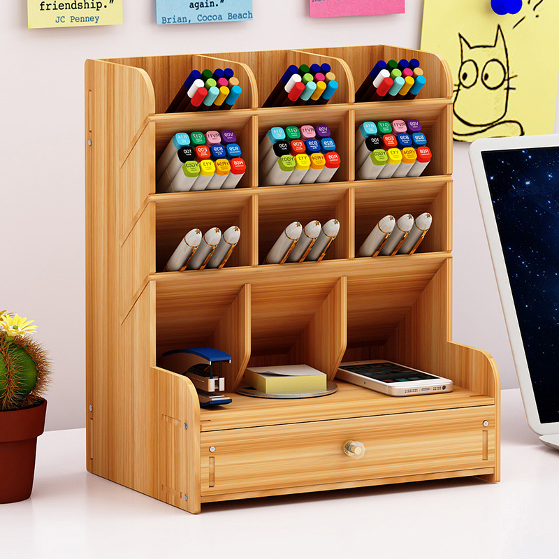 Wooden Multi-function Desktop Pen Holder  Storage Box Creative Fashion Assembled Pen Holder Office Desktop Decoration