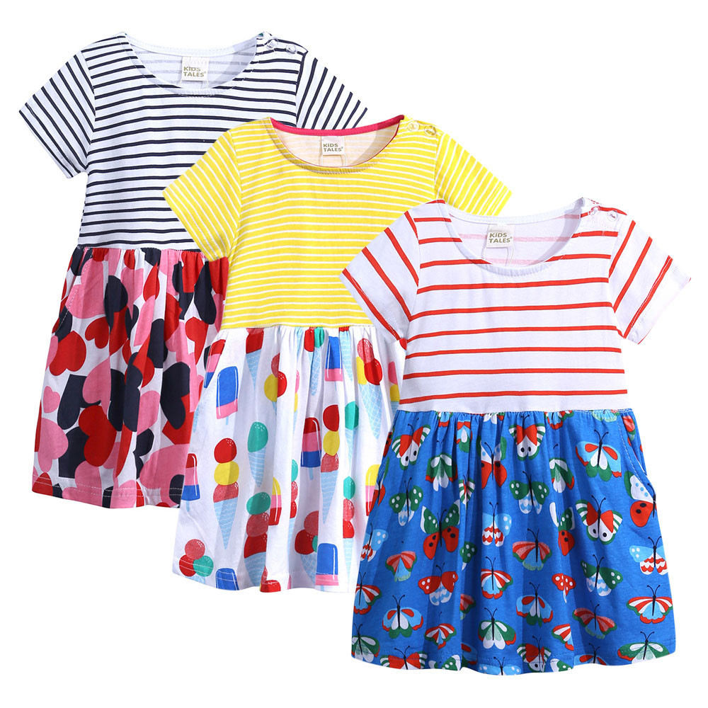 Summer Casual Toddler Infant Baby Kids Girls Cartoon Print Striped Animals Dresses Outfits