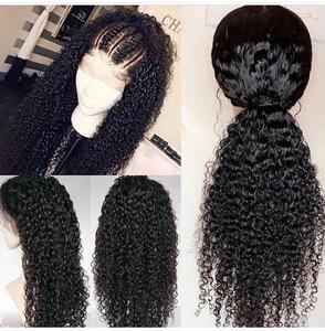 Image 3 - Парик из натуральных волос на сетке передней части, искусственные бразильские вьющиеся волосы, 13x4 13x6, ALI ANNABELLE, кудрявый