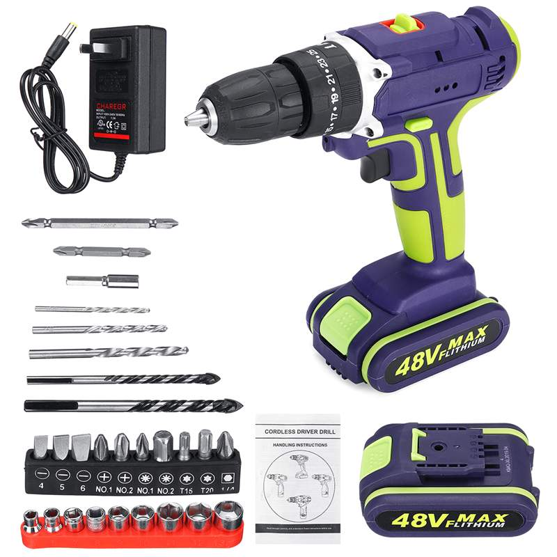 3 In 1 Hammer Drill 48VF Cordless Double Speed Power Drills LED lighting Large Capacity Battery 50Nm 25+1 Torque Electric Drill