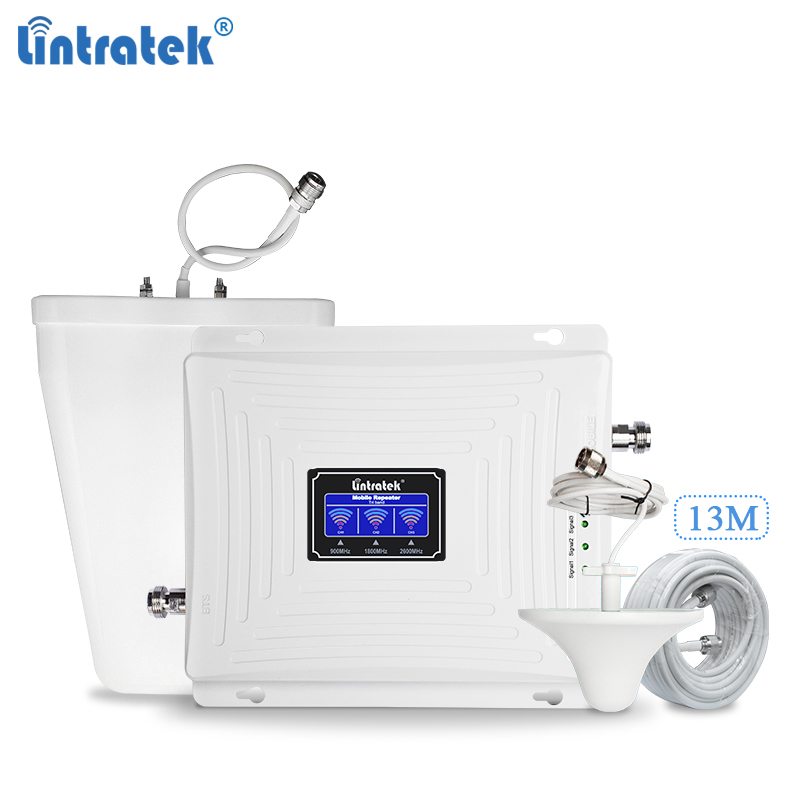 Lintratek 4G Signal Booster LTE 1800 2600Mhz Repeater GSM 900MHz Triband Amplifier 900 1800 2600MHz GSM 4G LTE Internet Booster