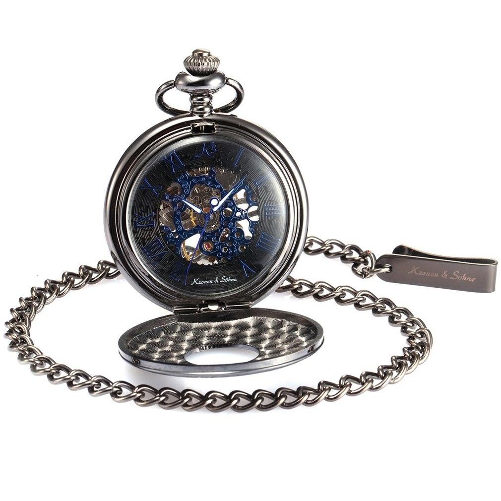 KS Vintage Skeleton Roman Numbers Mechanical Golden Hunter Mechanical Hand Winding Steampunk Fob Chain Men Pocket Watch /KSP031