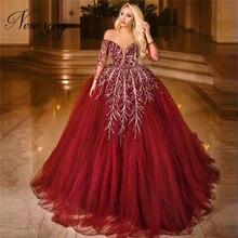 Luxus Perlen Puffy Party Kleid Mit Weg Von Der Schulter Abendkleider Saudi arabien Dubai 2020 Türkisch Islamische Prom Kleid Vestido