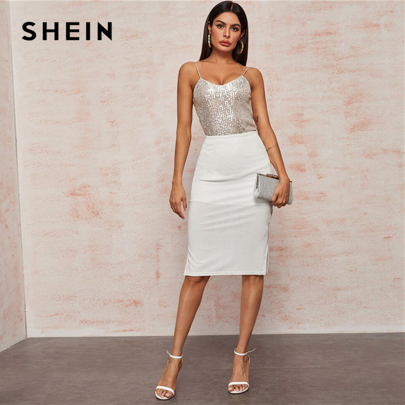 SHEIN Beige V-Neck Silver Lining Sequin Cami Top Spring Summer Sexy Spaghetti Strap Vest Sleeveless Ladies Glamorous Tops 2