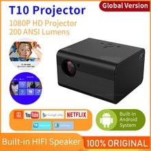 Küresel sürüm T10 projektör yerli 1080P Mini taşınabilir projektör 1920*1080P Full HD için Keystone düzeltme ev ofis