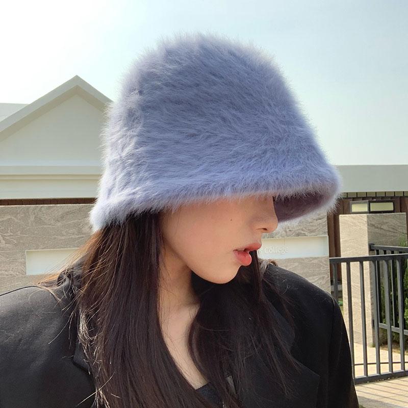 2020 Hat winter women's fashion Solid color rabbit fur hat bucket cap  fisherman's hat retro knitted wool basin Bucket Hat